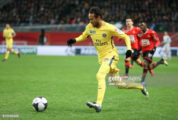 Neymar Jr of PSG during the French League Cup match between Stade Rennais and Paris Saint Germain at Roazhon Park on January 30 2018 in Rennes France