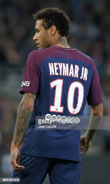 Neymar Jr of PSG during the French Ligue 1 match between Olympique de Marseille and Paris Saint Germain at Stade Velodrome on October 22 2017 in...