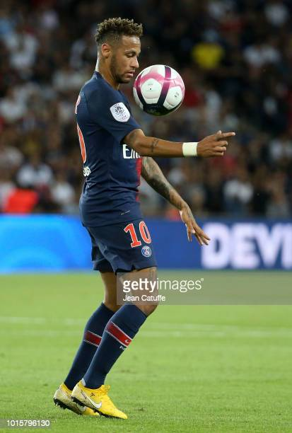 Neymar Jr of PSG during the french Ligue 1 match between Paris SaintGermain and Stade Malherbe Caen at Parc des Princes stadium on August 12 2018 in...