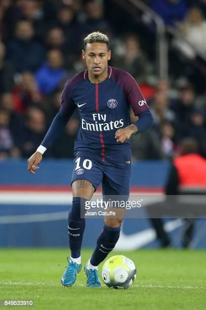 Neymar Jr of PSG during the French Ligue 1 match between Paris Saint Germain and Olympique Lyonnais at Parc des Princes on September 17 2017 in Paris
