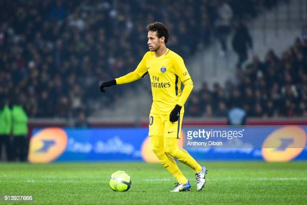Neymar Jr of PSG during the Ligue 1 match between Lille OSC and Paris Saint Germain PSG at Stade Pierre Mauroy on February 3 2018 in Lille
