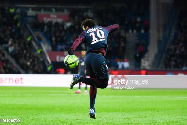 Neymar Jr of PSG during the Ligue 1 match between Paris Saint Germain and Montpellier Herault SC at Parc des Princes on January 27 2018 in Paris