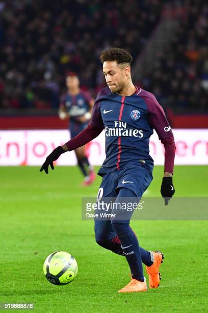 Neymar JR of PSG during the Ligue 1 match between Paris Saint Germain and Strasbourg at Parc des Princes on February 17 2018 in Paris France