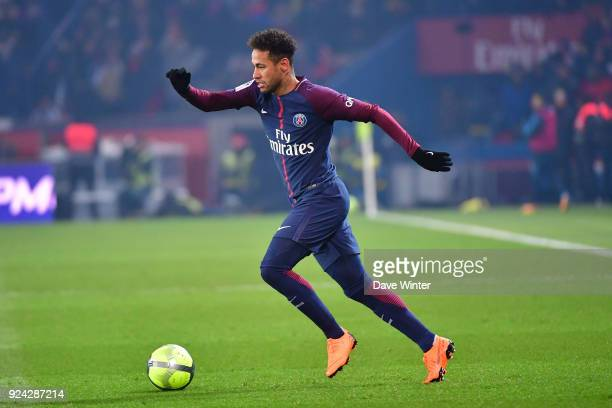 Neymar JR of PSG during the Ligue 1 match between Paris Saint Germain and Olympique Marseille at Parc des Princes on February 25 2018 in Paris France