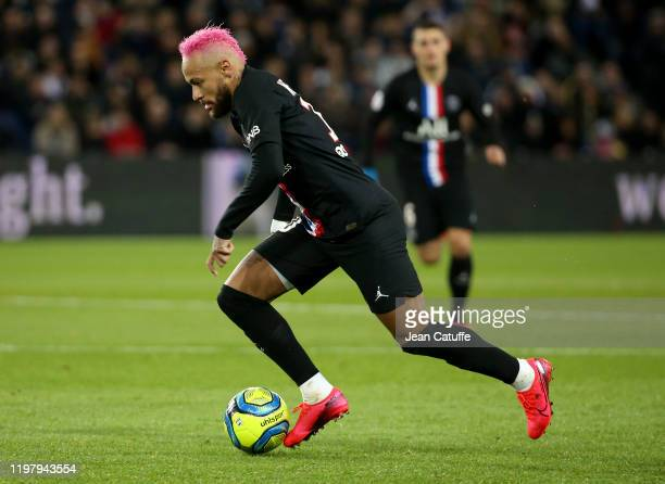 Neymar Jr of PSG during the Ligue 1 match between Paris Saint-Germain and Montpellier Herault SC at Parc des Princes stadium on February 1, 2020 in...