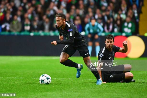 Neymar JR of PSG during the Uefa Champions League match between Glasgow Celtic and Paris Saint Germain at Celtic Park Stadium on September 12 2017 in...