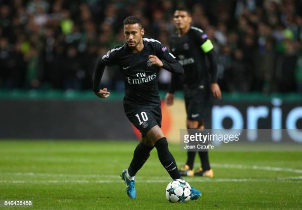 Neymar Jr of PSG during the UEFA Champions League match between Celtic Glasgow and Paris Saint Germain at Celtic Park on September 12 2017 in Glasgow...