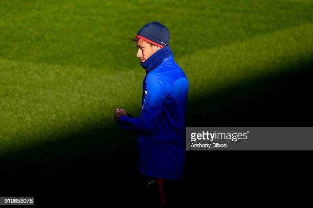 Neymar Jr of PSG during training session of Paris Saint Germain PSG at Camp des Loges on January 26 2018 in Paris France