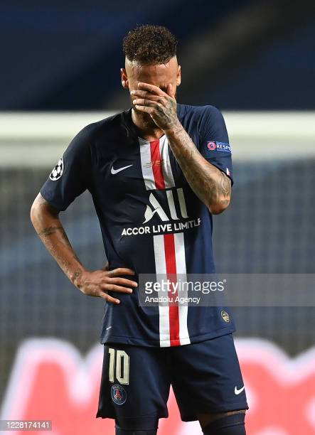 Neymar JR. Of PSG gestures during the UEFA Champions League final football match between Paris Saint-Germain and Bayern Munich at the Luz stadium in...