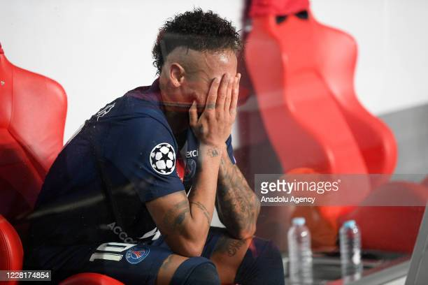 Neymar JR. Of PSG gets upset at the end of the UEFA Champions League final football match between Paris Saint-Germain and Bayern Munich at the Luz...