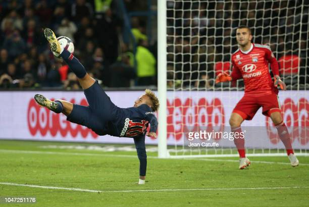 Neymar Jr of PSG goalkeeper of Lyon Anthony Lopes during the french Ligue 1 match between Paris SaintGermain and Olympique Lyonnais at Parc des...