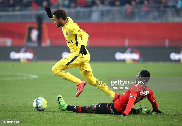 Neymar Jr of PSG Hamari Traore of Stade Rennais during the French Ligue 1 match between Stade Rennais and Paris Saint Germain at Roazhon Park on...