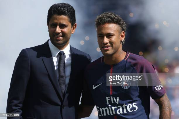 Neymar Jr of PSG is presented by President of PSG Nasser AlKhelaifi to the supporters before the French Ligue 1 match between Paris Saint Germain and...