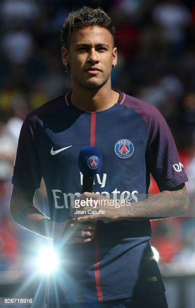 Neymar Jr of PSG is presented to the supporters before the French Ligue 1 match between Paris Saint Germain and Amiens SC at Parc des Princes on...