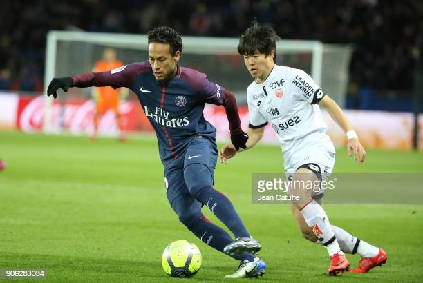 Neymar Jr of PSG, Kwon Chang-hoon of Dijon during the French Ligue 1 match between Paris Saint Germain and Dijon FCO at Parc des Princes stadium on...