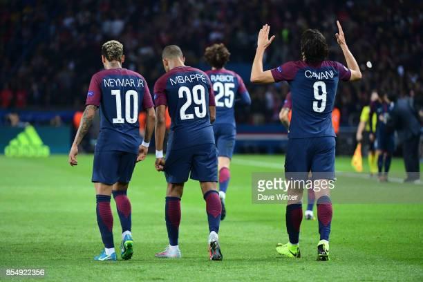 Neymar JR of PSG Kylian Mbappe of PSG and Edinson Cavani of PSG during the Uefa Champions League match between Paris Saint Germain and FC Bayern...