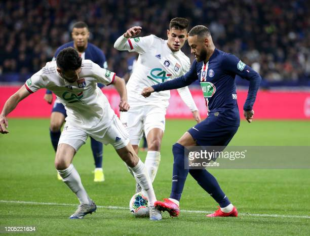 Neymar Jr of PSG Leo Dubois Bruno Guimaraes of Lyon during the French Cup semifinal match between Olympique Lyonnais and Paris SaintGermain at...