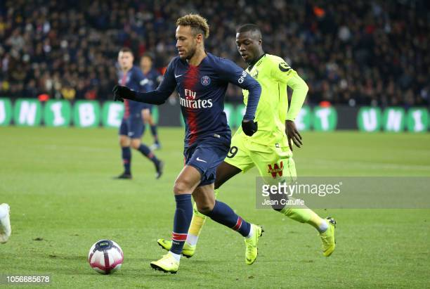 Neymar Jr of PSG Nicolas Pepe of Lille during the french Ligue 1 match between Paris SaintGermain and Lille OSC at Parc des Princes stadium on...