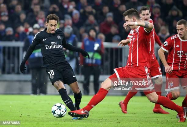 Neymar Jr of PSG Niklas Sule of Bayern Munich during the UEFA Champions League group B match between Bayern Muenchen and Paris SaintGermain at...