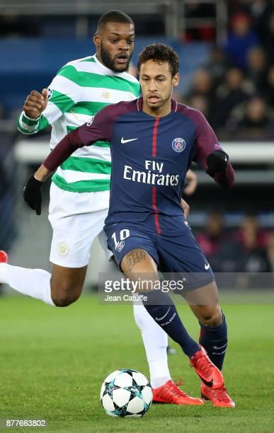 Neymar Jr of PSG Olivier Ntcham of Celtic Glasgow during the UEFA Champions League group B match between Paris SaintGermain and Celtic FC at Parc des...