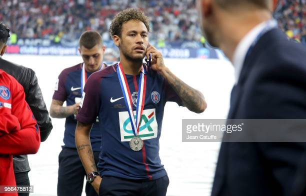 Neymar Jr of PSG on the phone following the French Cup final between Les Herbiers VF and Paris SaintGermain at Stade de France on May 8 2018 in...
