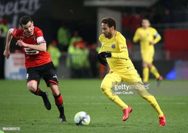 Neymar Jr of PSG Romain Danze of Stade Rennais during the French Ligue 1 match between Stade Rennais and Paris Saint Germain at Roazhon Park on...