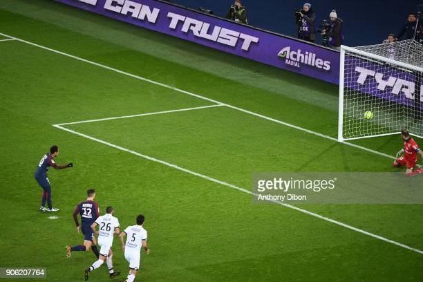 Neymar Jr of PSG scores a penalty during the Ligue 1 match between Paris Saint Germain and Dijon FCO at Parc des Princes on January 17 2018 in Paris