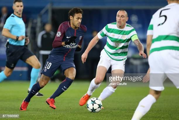 Neymar Jr of PSG Scott Brown of Celtic Glasgow during the UEFA Champions League group B match between Paris SaintGermain and Celtic FC at Parc des...