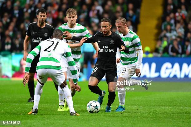 Neymar JR of PSG takes on the opposition defence during the Uefa Champions League match between Glasgow Celtic and Paris Saint Germain at Celtic Park...