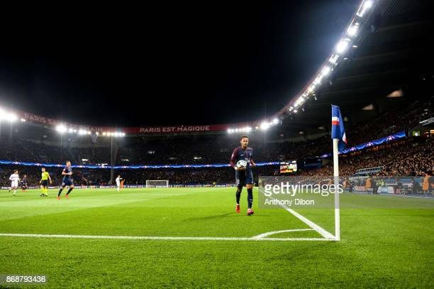 Neymar Jr of PSG taking corner kick during the UEFA Champions League match between Paris SaintGermain and RSC Anderlecht at Parc des Princes on...