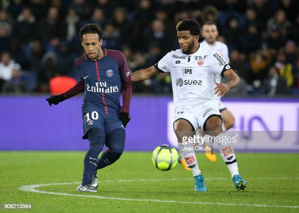 Neymar Jr of PSG Valentin Rosier of Dijon during the French Ligue 1 match between Paris Saint Germain and Dijon FCO at Parc des Princes stadium on...