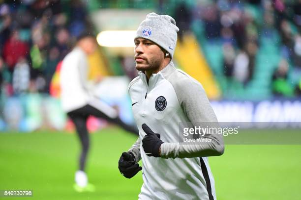 Neymar JR of PSG warms up before the Uefa Champions League match between Glasgow Celtic and Paris Saint Germain at Celtic Park Stadium on September...