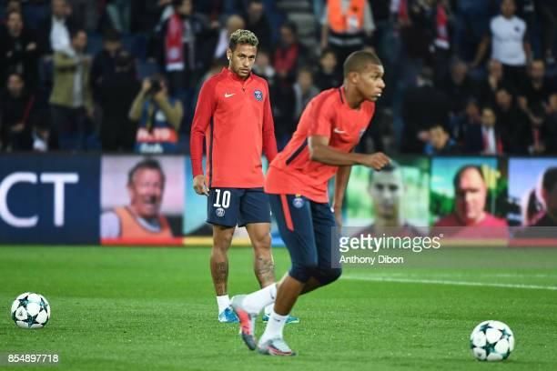 Neymar Jr of PSG watch Kylian Mbappe during the Uefa Champions League match between Paris Saint Germain and Fc Bayern Muenchen on September 27 2017...