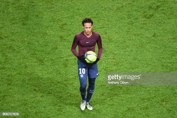 Neymar Jr of PSG with the ball of the match during the Ligue 1 match between Paris Saint Germain and Dijon FCO at Parc des Princes on January 17 2018...