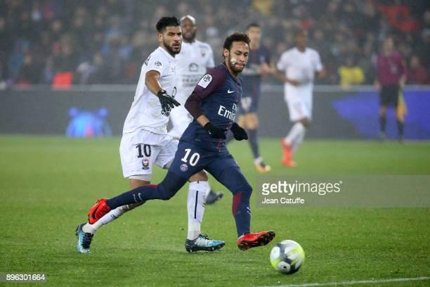 Neymar Jr of PSG Youssef Ait Bennasser of Caen during the French Ligue 1 match between Paris Saint Germain and Stade Malherbe Caen at Parc des...