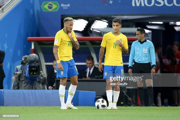 Neymar Jr Philippe Coutinho of Brazil during the 2018 FIFA World Cup Russia group E match between Serbia and Brazil at Spartak Stadium on June 27...