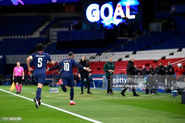 Neymar Jr reacts after soring during the UEFA Champions League round of 16 second leg match between Paris SaintGermain and Borussia Dortmund at Parc...