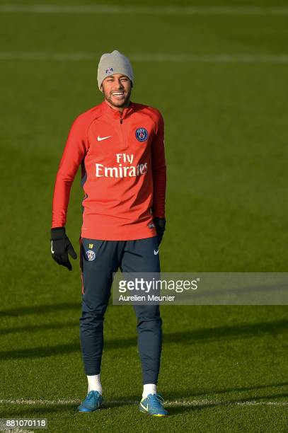 Neymar Jr reacts during a Paris SaintGermain training session at Centre Ooredoo on November 28 2017 in Paris France