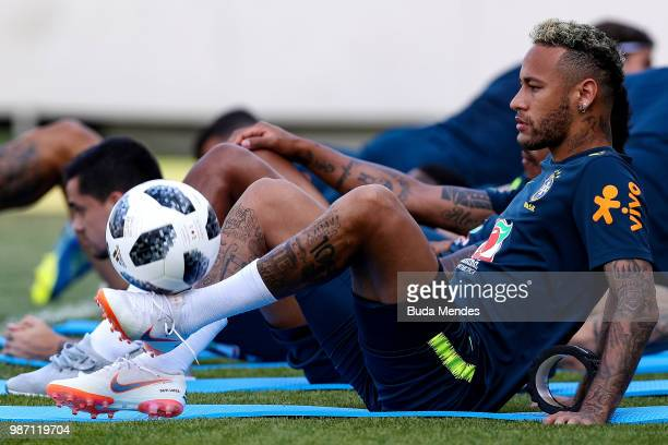 Neymar Jr takes part during a Brazil training session on June 29 2018 in Sochi Russia