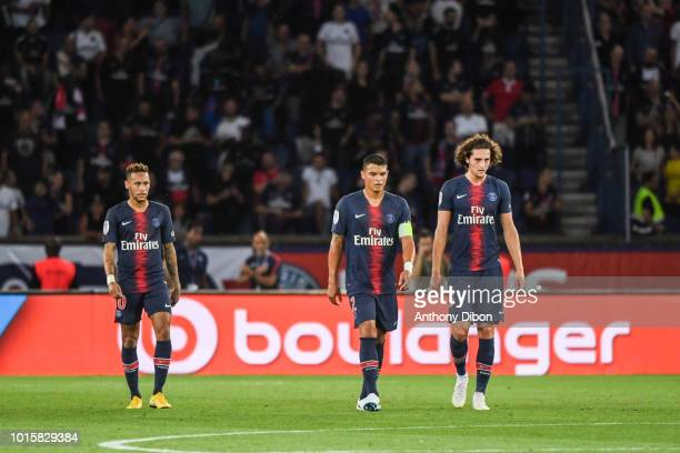 Neymar Jr Thiago Silva and Adrien Rabiot of PSG during the French Ligue 1 match between Paris Saint Germain and Caen at Parc des Princes on August 12...