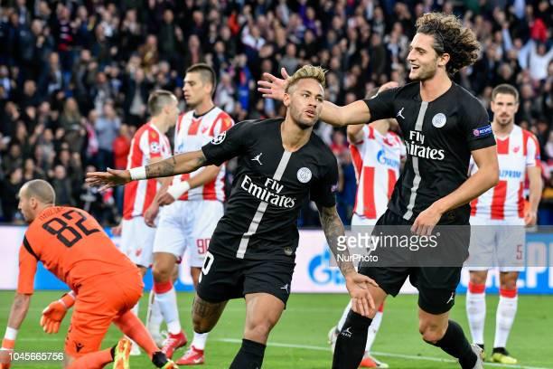 Neymar JrAdrien Rabiot of PSG during the UEFA Champions' League football match Paris Saint Germain against Red Star Belgrade at the Parc des Princes...