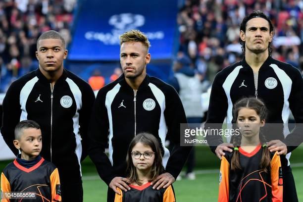 Neymar JrKillian MbappeEdison Roberto Cavani of PSG during the UEFA Champions' League football match Paris Saint Germain against Red Star Belgrade at...