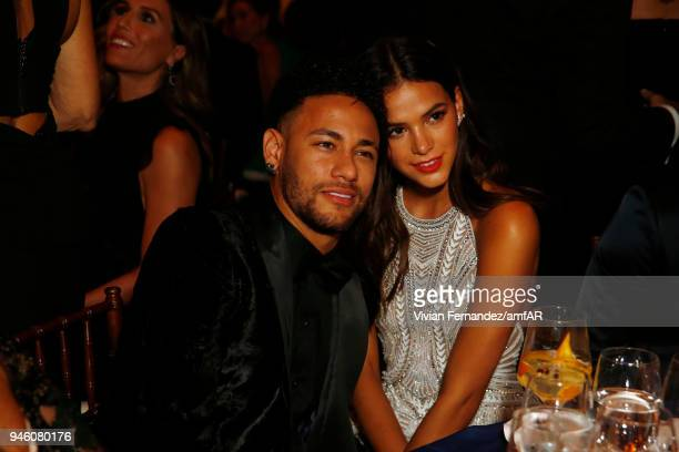 Neymar Junior and Bruna Marquezine attend the 2018 amfAR gala Sao Paulo at the home of Dinho Diniz on April 13 2018 in Sao Paulo Brazil