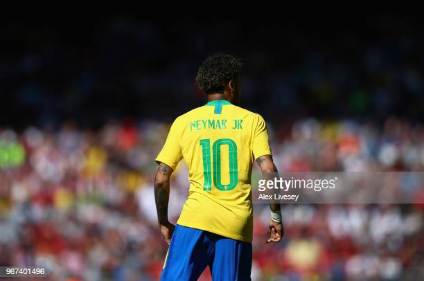 Neymar Junior of Brazil during the International friendly match between of Croatia and Brazil at Anfield on June 3 2018 in Liverpool England