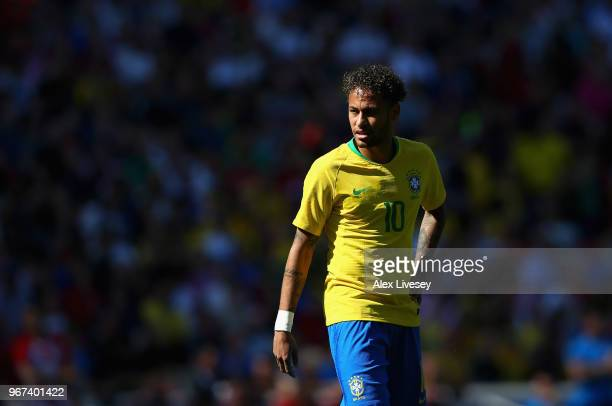 Neymar Junior of Brazil looks on during the International friendly match between of Croatia and Brazil at Anfield on June 3 2018 in Liverpool England