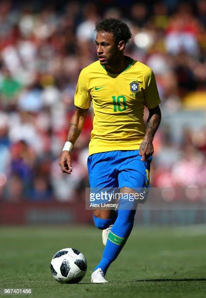 Neymar Junior of Brazil runs with the ball during the International friendly match between of Croatia and Brazil at Anfield on June 3 2018 in...