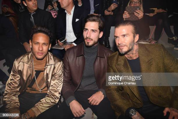 Neymar Kevin Trapp and David Beckham attend the Louis Vuitton Menswear Fall/Winter 20182019 show as part of Paris Fashion Week on January 18 2018 in...