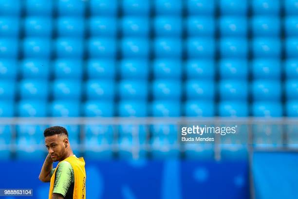 Neymar looks on during a Brazil training session ahead of the Round 16 match against Mexico at Samara Arena on July 1 2018 in Samara Russia