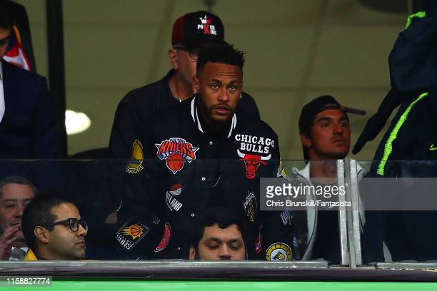 Neymar looks on during the Copa America Brazil 2019 quarterfinal match between Brazil and Paraguay at Arena do Gremio on June 27 2019 in Porto Alegre...
