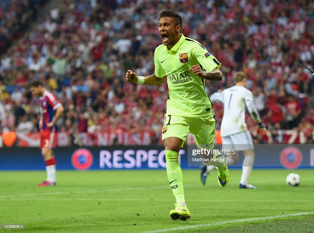 Neymar of Barcelona celebrates as he scores their first goal during the UEFA Champions League semi final second leg match between FC Bayern Muenchen and FC Barcelona at Allianz Arena on May 12, 2015 in Munich, Germany.